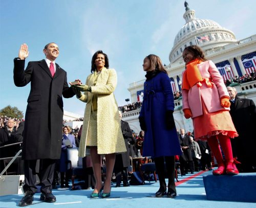 Barack H. Obama is sworn in as the 44th president of the United States as his wife Michelle Obama holds the Bible and their daughters Malia Obama and Sasha Obama look on, on the West Front of the Capitol January 20, 2009 in Washington, DC. (Chuck Kennedy-Pool/Getty Images)
