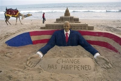 U.S. President-elect Barack Obama's sand sculpture made by an Indian artist Sudarshan Pattnaik, is seen at the golden sea beach in Puri, 67 kilometers (41 miles) away from Bhubaneswar, India, Tuesday, Jan. 20, 2009.